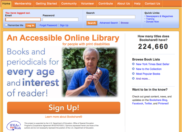 bookshare library outreach 1st july disabilities qualifying currently award access students under