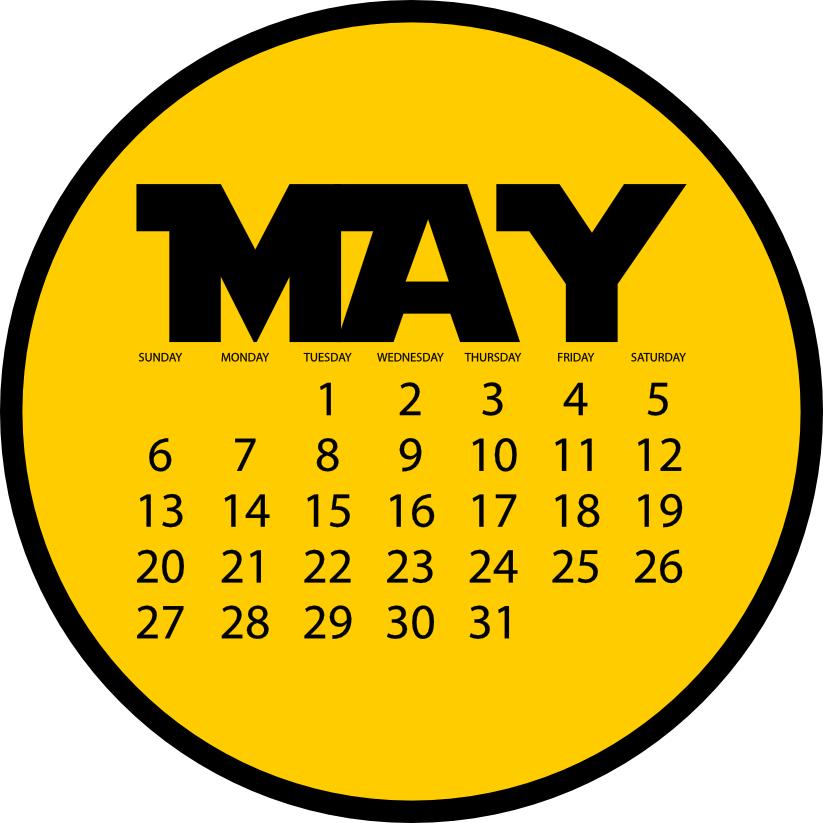 May 2018 calendar image