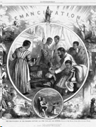 African American men, women, and children in period dress around a fireplace with Lady Liberty above them and the word Emancipation