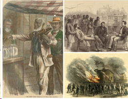 African American man in period clothes voting, African American men gathered together behind three men having a discussion, and a building on fire,