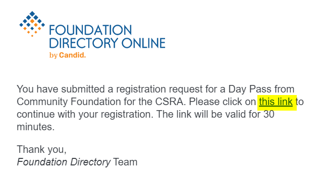 email with link for day pass