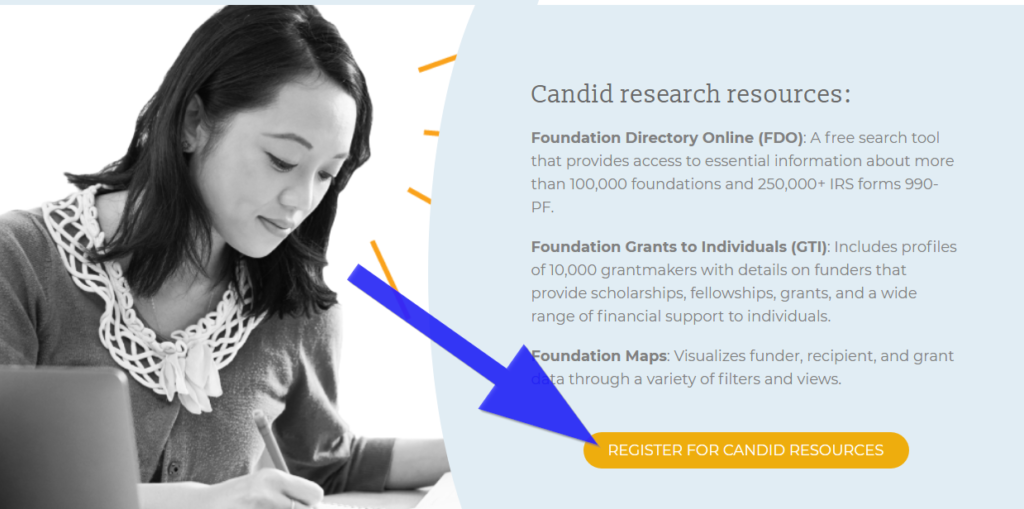 webpage photo showing register for candid resources button